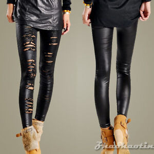 New-Womens-Lady-Ripped-Torn-Sexy-CutOut-Stretch-Nylon-Legging-Pants-Black-012