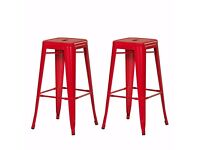 Tolix Style Red Bar Stools x 4