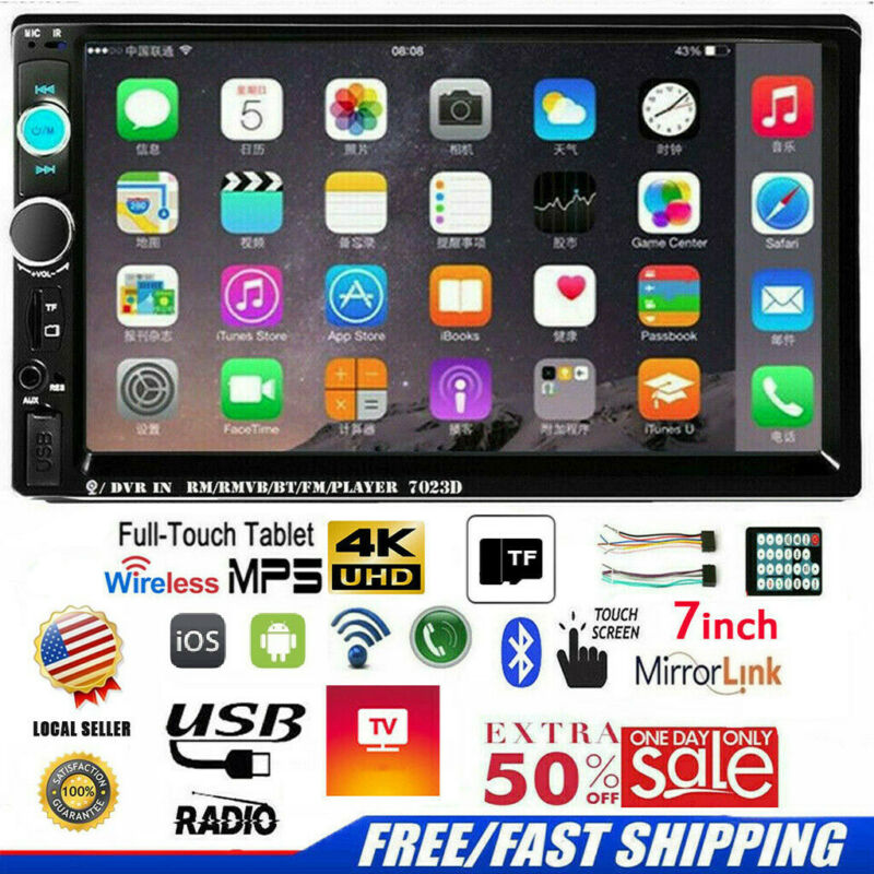 """7"""" Inch Car Stereo Radio HD Mp5 Player Touch Screen Bluetoot"""