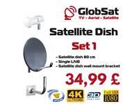 Satellite dish+LNB+wall mount bracket