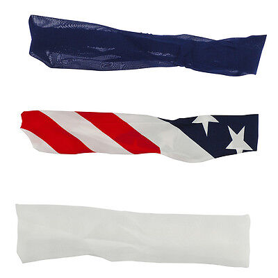 Lux Accessories Red White and Blue Americana Chiffon Stretch Headband (3PCS)