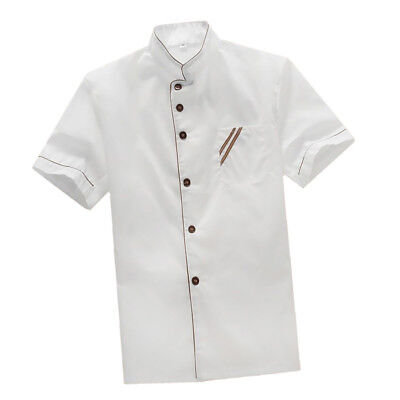 White Chef Uniforms Short Sleeves Catering Chef Coat Kitchen Jacket Cotton L