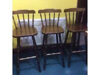 3 Wooden Kitchen/Bar Stools - FREE