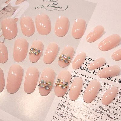 24 Pcs Acrylic Fake Fingernails Full Cover Fake False Nude Pink Nail Art DIY   (Fake Fingernails)