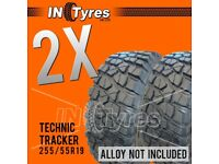 2x 255/55r19 Kingpin Technic Mud Terrain MT Two 255 55 19 Retread Tyres Like BFG