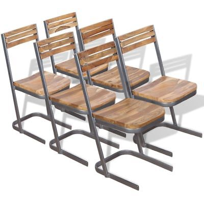 vidaXL Set of 2/4/6 Solid Teak Wood Dining Chairs  with Meta