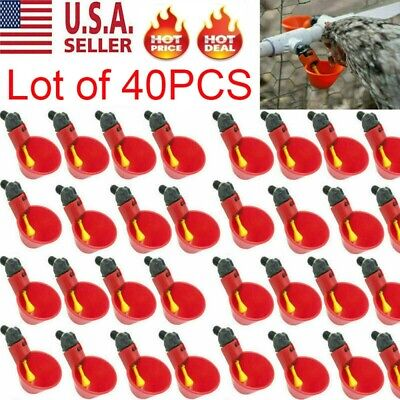 40x Poultry Water Drinking Cups- Chicken Hen Plastic Automatic Drinker Us
