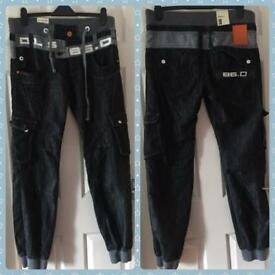 *brand new* black cuff legged jeans size 36R.