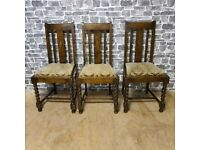 3x Brown Vintage Chairs