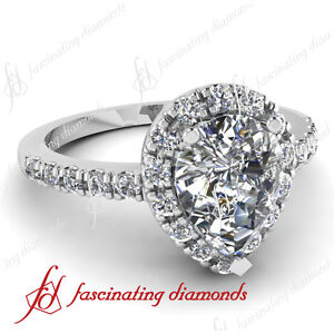 .70 Ct Pear Shaped Halo Diamond Engagement Ring Pave Set 14K CUT: Very Good VS2