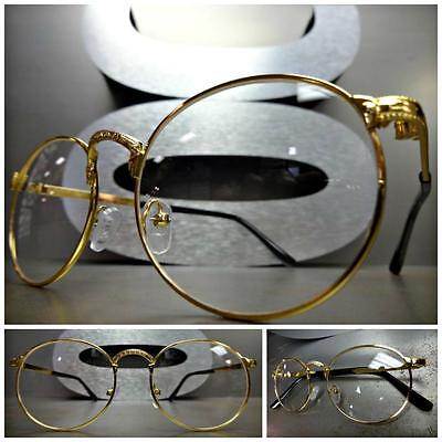 Men or Women VINTAGE RETRO Style Clear Lens EYE GLASSES Small Gold Fashion Frame