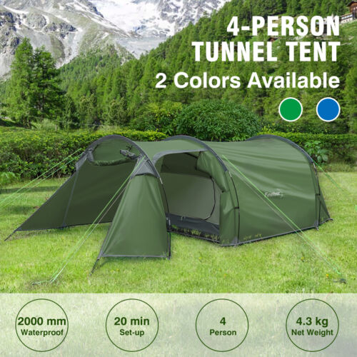 3 4 Man Family Tunnel Tent With Awning Camping Festival Waterproof 3000mm Green