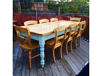 Solid Pine Dining Table and 8 Chairs