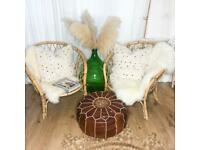 2 x Vintage Retro Bohemian Style Wicker Rattan Bamboo Mid Century Chairs Tiki