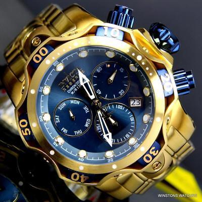 Invicta Reserve Venom Gen III Swiss Mvt Blue 52mm Gold Plated Steel Watch New