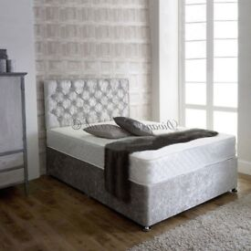 FREE AND FAST DELIVERY! NEW CRUSH VELVET DOUBLE DIVAN BED AND MATTRESS, SAME DAY FAST DELIVERY