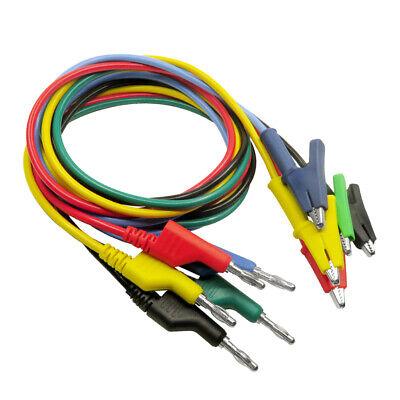 5 Pcs Banana Plug To Crocodile Alligator Clip Test Lead Wire Cable Set 15a
