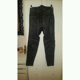 Black Dynamic Leathers motorbike motorcycle leather trousers unisex