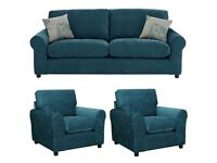 Quality home tessa teal 3 seater with 2 chairs**Free delivery**