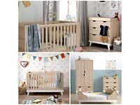 EX DISPLAY - Mamas & Papas 3 Piece Lawson Set - Cot Bed, Wardrobe & Changer