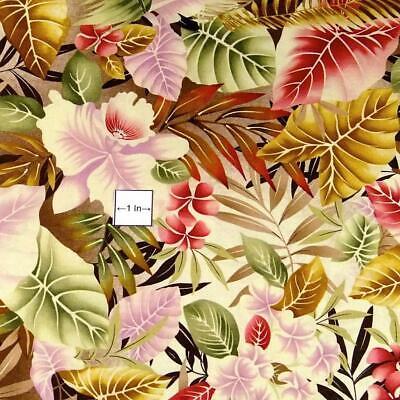 Hawaiian Print by FabriQuilt, Pink, Gold, Cream & Terra Cotta Pua & Lau, BTY