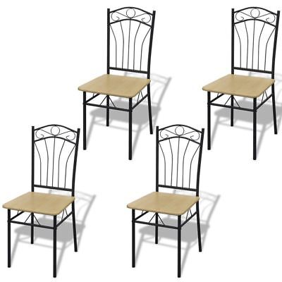 vidaXL 4x Dining Chairs Light Brown Metal Kitchen Dining Room Office Furniture ()