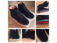 Christian Louboutin Black Suede Unisex Men Women Girl Boys Trainers Shoes Christmas Sale 5,9.5,10,11