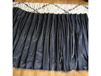 Grey velvet curtains for bay window, made by John Lewis