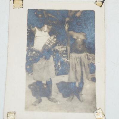 Vintage WWII Weltkrieg 2 Guadalcanal Ureinwohner Mann Nackte Frau Schwarz & Foto