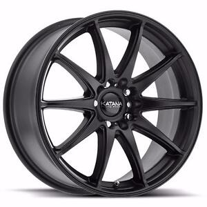 NEW! 18 inch FULL MATTE BLACK!! WITH NEW TIRES!! Multi bolt pattern FITS MANY VEHICLES!