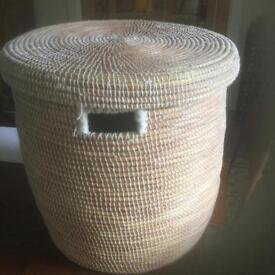 Grass woven storage or laundry basket