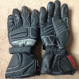 Ladies Black leather motorbike gloves