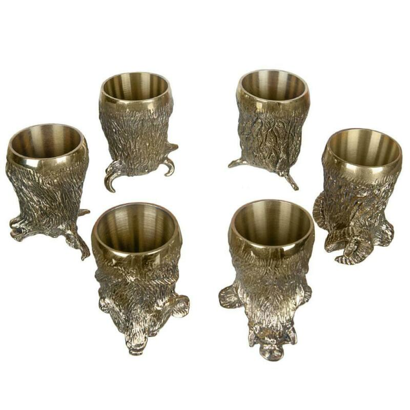Bronze Shot Cup Vodka Whiskey Drink Set of 6 Alcohol Hunting Kit Gift Case Cups