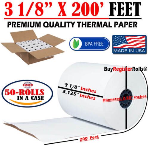 3 1 8 x 200 Thermal Receipt Paper POS Cash Register Rolls BPA Free Made in US