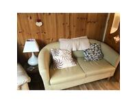 2 seater tub chair beige colour, leather effect