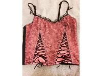 Pink and black lace corset size 10/12