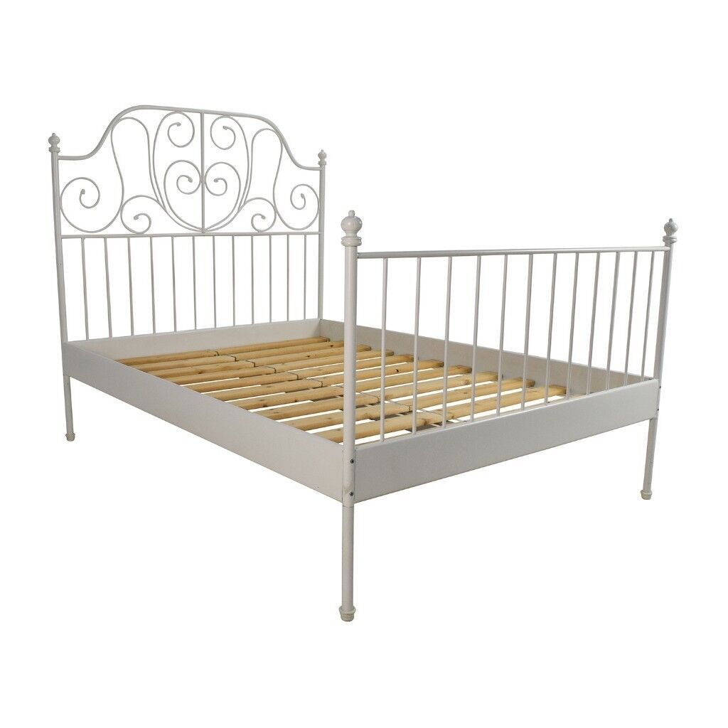 Ikea double bed frame white LEIRVIK Bed frame | in Ilford, London ...