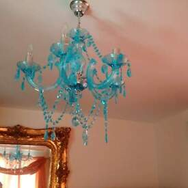 lovely blue chandelier, excellent condition changed deco hence reason for sale