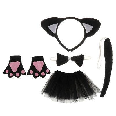 Katze Tier Handschuhe Stirnband Tutu Schleife Schwanz Kinder Kit (Schwarze Katze Kostüm Kit)