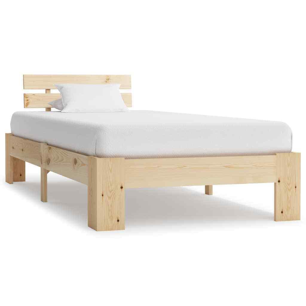 vidaXL Kiefer Massiv Bettgestell 100x200cm Holzbett Futonbett Einzelbett Bett