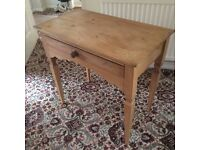 Genuine Antique Pine side/hall table with drawer