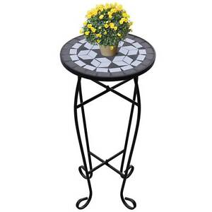 Mosaic Side Table Plant Table Black White(SKU 41129) vidaXL Mount Kuring-gai Hornsby Area Preview