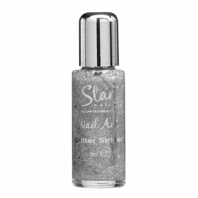 Striper Glitter (Star Nails Silver Glitter Striper 8ml Nail Art Supplies Manicure Kit)