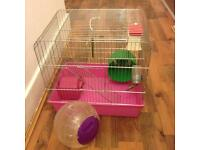 Beautiful hamster cage with new ball and accessories for sale