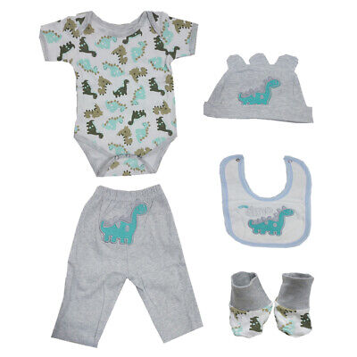 22-23inch Baby Doll Dinosaur Clothes Suit Reborn Boy Girl Doll Rompers Pants Hat