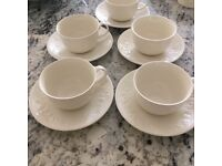 5 cream strawberry embossed cups and saucers by Barratts