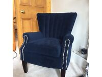 Navy Armchair with beautiful detailing