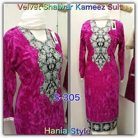 Velvet and Marina Ready Made Shalwar Trouser Kameez Suit with Embroidery