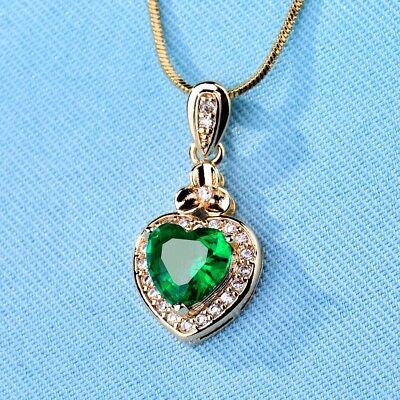 Women Engagement Green Cubic Zirconia CZ Silver Gold Love Heart Pendant -