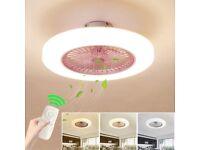 Ceiling Fan with Lighting, Fan Ceiling Fan LED Light, Adjustable Wind Speed, Dimmable Remote Control